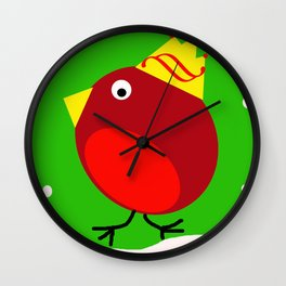 Merry Christmas Robin Wall Clock