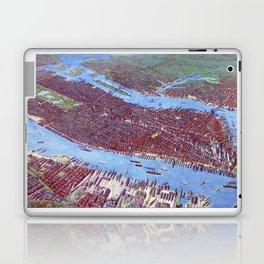 NEW YORK CITY Manhattan city old map Father Day art print poster Laptop & iPad Skin