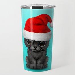 Christmas Black Panther Wearing a Santa Hat Travel Mug