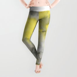 Hand painted gray yellow abstract watercolor pattern Leggings