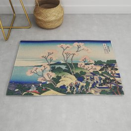 Sakura blossom with Mount Fuji in the background, Japanese fine art Rug
