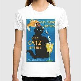 Mix Your Drinks with Catz (Cats) Bitters Aperitif Liquor Vintage Advertising Poster T-shirt