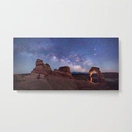 Delicate Arch Under the Starry Sky in Arches National Park Panorama Metal Print