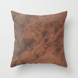 Old Tan Leather Print Texture | Cowhide Throw Pillow