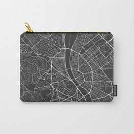 Budapest Map, Hungary - Gray Carry-All Pouch
