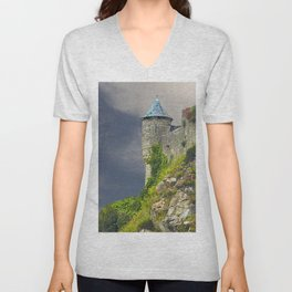 Small Tower of Mont St. Michel Unisex V-Neck