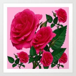 DECORATIVE RED GARDEN ROSES PINK ART Art Print
