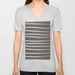 Simply Drawn Stripes White Gold Sands on Storm Gray Unisex V-Neck