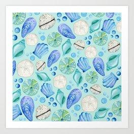 Aqua Seashells Down By The Seashore Art Print