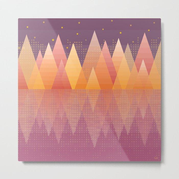 Geometric Lake Mountain III - Fall Metal Print