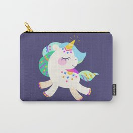 Cute unicorn with colorful mane and tail Carry-All Pouch