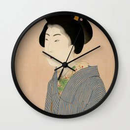 Japanese Art Print - Woman in Blue Kimono Wall Clock