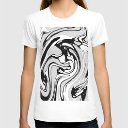 Black, White and Gray Graphic Paint Swirl Pattern Effect T-shirt