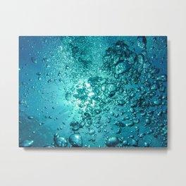 Air Bubbles Diving Underwater Metal Print