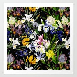 Vintage & Shabby Chic - Lush baroque Iris flower pattern Art Print