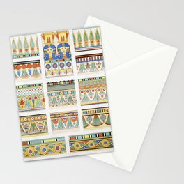 Coronations  friezes of flowers (Theban Necropolis) from Histoire de lart egyptien (1878) by Emile P Stationery Cards