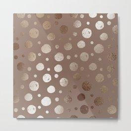 Bronze Polka Dot Pattern Metal Print