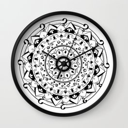 patience black mandala on white Wall Clock