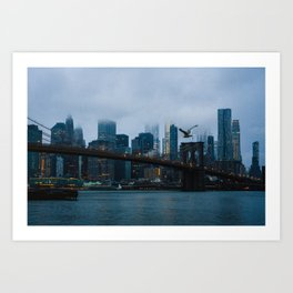 New York City skyline in the fog Art Print