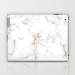 Fine Gold Marble Natural Stone Gold Metallic Veining White Quartz Laptop & iPad Skin