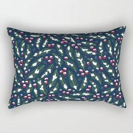 Winter Berries in Navy Rectangular Pillow