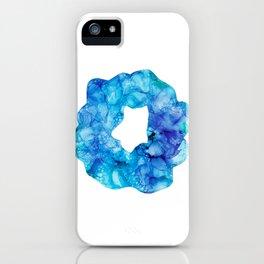 Blue Splatter Scrunchie: Original Alcohol Ink Painting iPhone Case