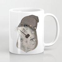 otter Mugs featuring OTTER by Thiago Bianchini