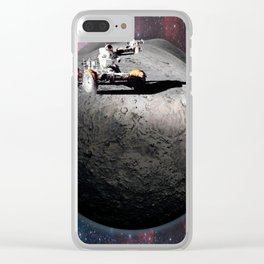 Moon race to the dark side of the moon. Clear iPhone Case