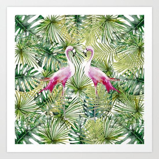 Aloha Flamingo Bird Animal in Jungle Art Print