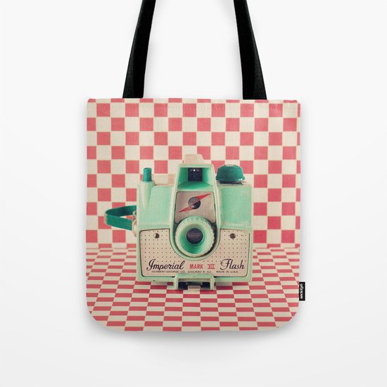 Mint Retro Camera on Red Chequered Background  Tote Bag