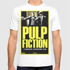 PULP FICTION White Mens Fitted Tee LARGE