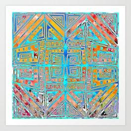 """Aztec"" 3   Vibrant and Funky Pattern  Art Print"