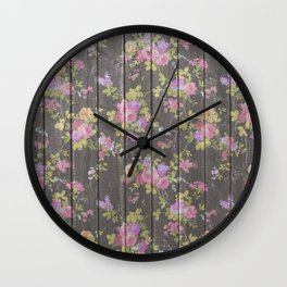 Rustic vintage brown wood pink country chic floral Wall Clock