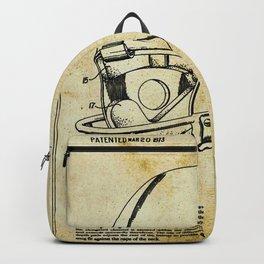 Football Helmet Patent Blueprint Drawing Tan Backpack