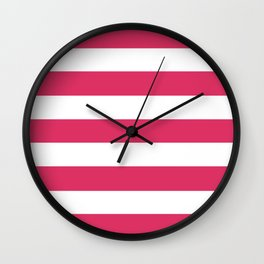 Cerise - solid color - white stripes pattern Wall Clock