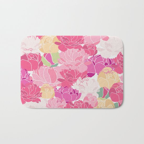 Bunch of Colorful Peonies Flowers Pattern Bath Mat