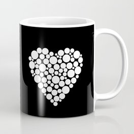 Simple black and white pattern .heart black polka dots .  2 Coffee Mug