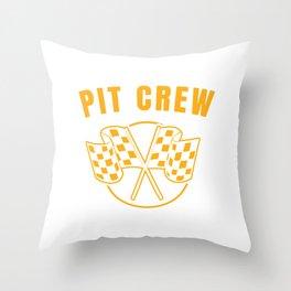 Automotive Race Car Sports Team Pit Crew Racing Car Racetrack Checkered Flag T-shirt Design Throw Pillow