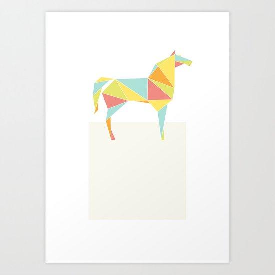 Origami Horse by Friztin Art Print