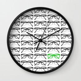 Optometrist Black and Green Frames Pattern Print Wall Clock