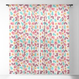Retro Christmas Tile Sheer Curtain