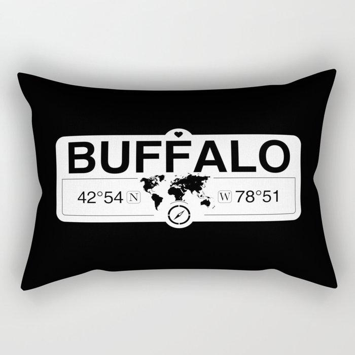 Buffalo New York GPS Coordinates Map Artwork with Compass Rectangular Pillow