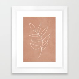 Engraved Leaf Line Framed Art Print