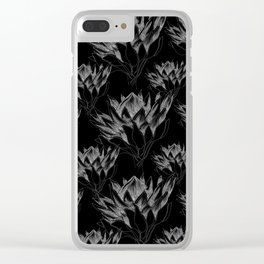 Black King Protea Clear iPhone Case