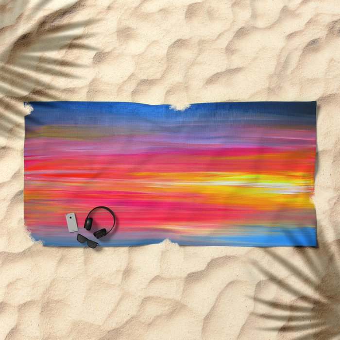 BRIGHT HORIZONS Bold Colorful Rainbow Pink Yellow Blue Abstract Painting Sunrise Sunset Stripes  Beach Towel