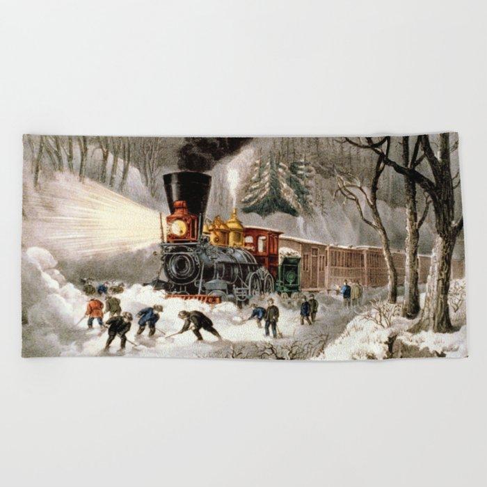 Snow Bound: Vintage Railroad Scene Beach Towel