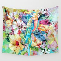 parrot Wall Tapestries featuring PARROT by RIZA PEKER