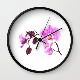 pink orchid flower watercolor painting Wall Clock