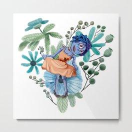 Blue Zombie Girl Curtsey Metal Print