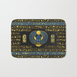 Golden Egyptian Scarab Ornament on  leather Bath Mat